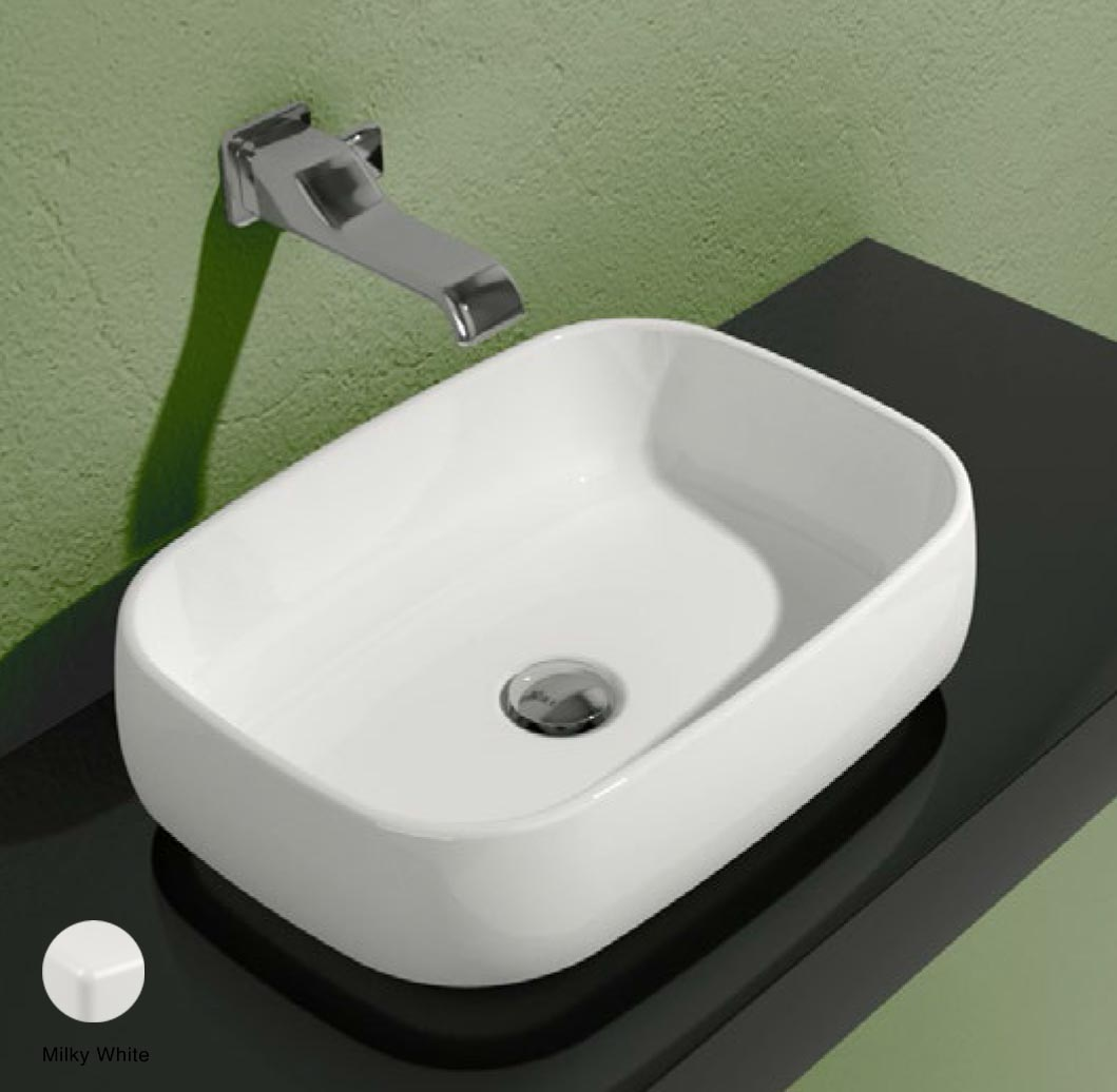 Flag Countertop basin without tap ledge 50cm Milky White Matte