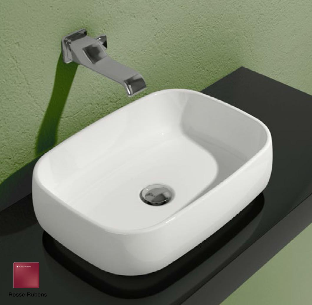 Flag Countertop basin without tap ledge 50cm Rosso Rubens Matte