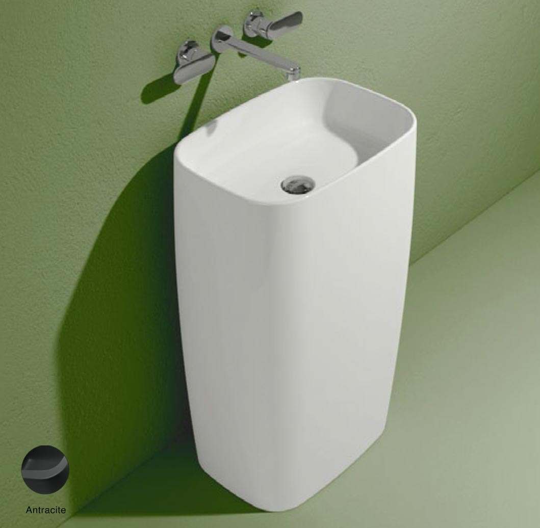 Flag Standing basin to wall without tap ledge Anthracite Matte