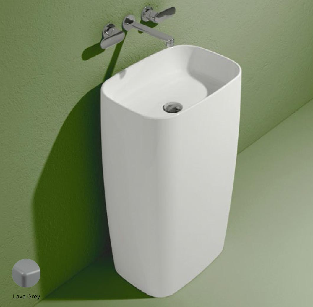 Flag Standing basin to wall without tap ledge Lava Grey Matte