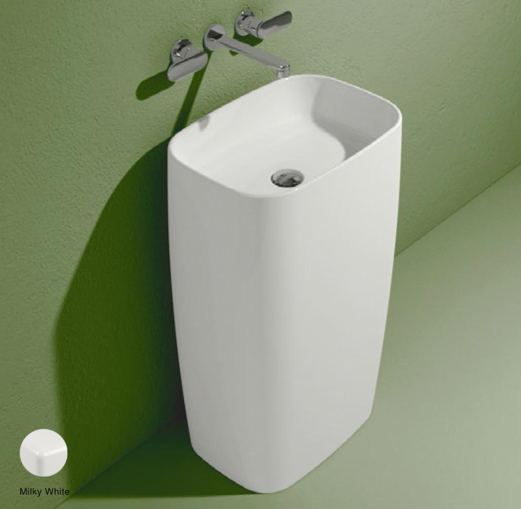 Flag Standing basin to wall without tap ledge Milky White Matte