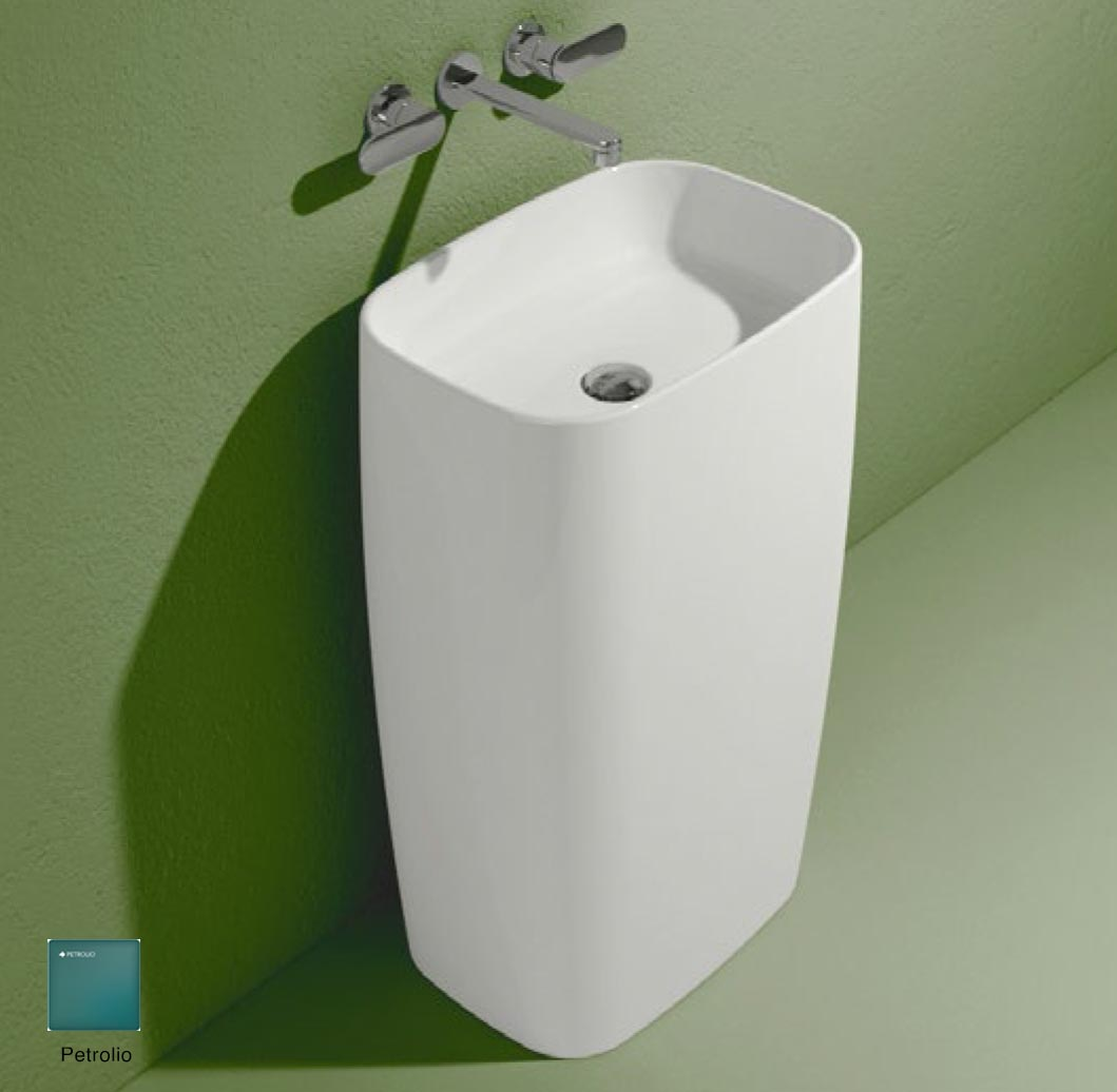 Flag Standing basin to wall without tap ledge Petrolio Matte