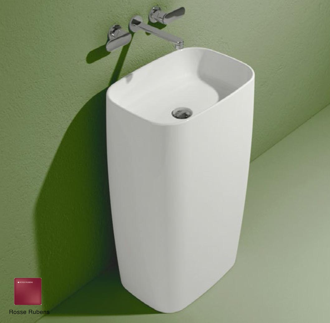 Flag Standing basin to wall without tap ledge Rosso Rubens Matte