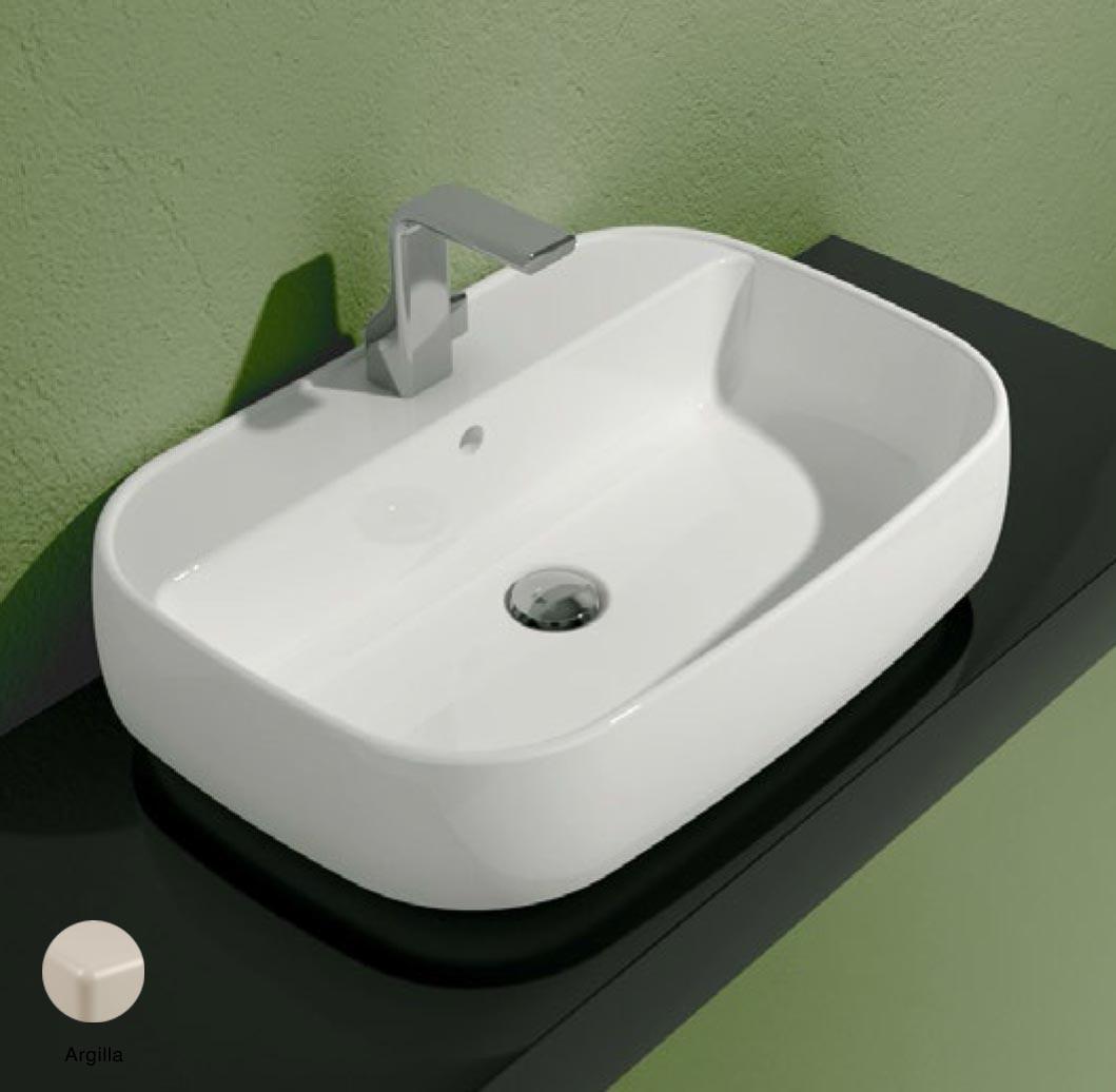 Flag Countertop/Wall hung basin with tap ledge 64cm Argilla Matte