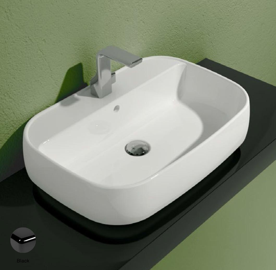Flag Countertop/Wall hung basin with tap ledge 64cm Black Glossy