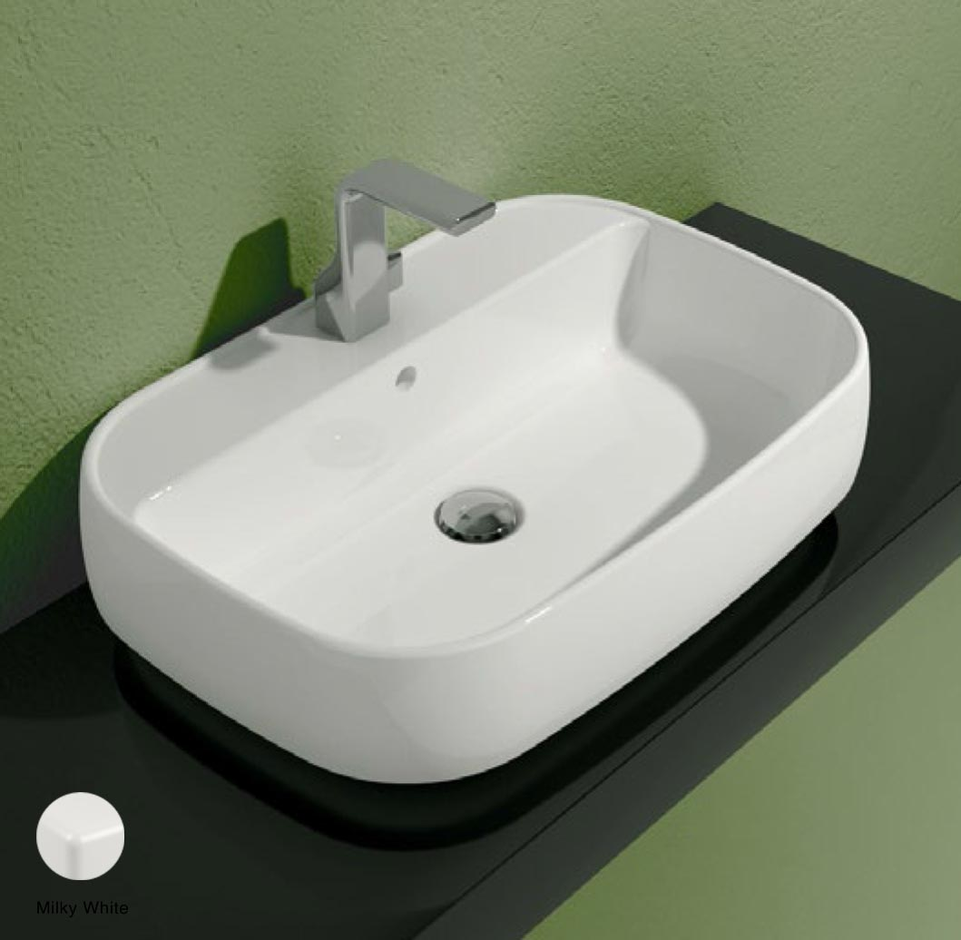 Flag Countertop/Wall hung basin with tap ledge 64cm Milky White Matte