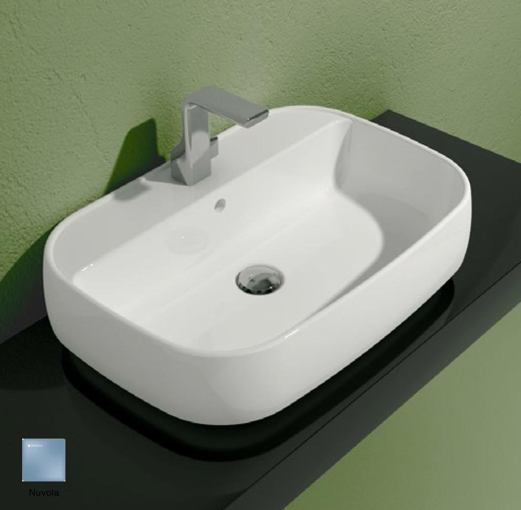 Flag Countertop/Wall hung basin with tap ledge 64cm Nuvola Matte