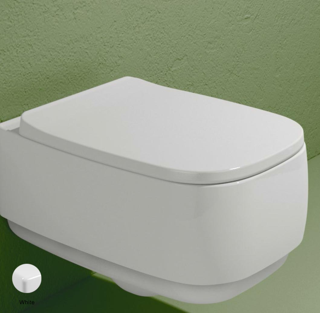 Flag Soft-closing seat & cover with gold quick-release White Glossy
