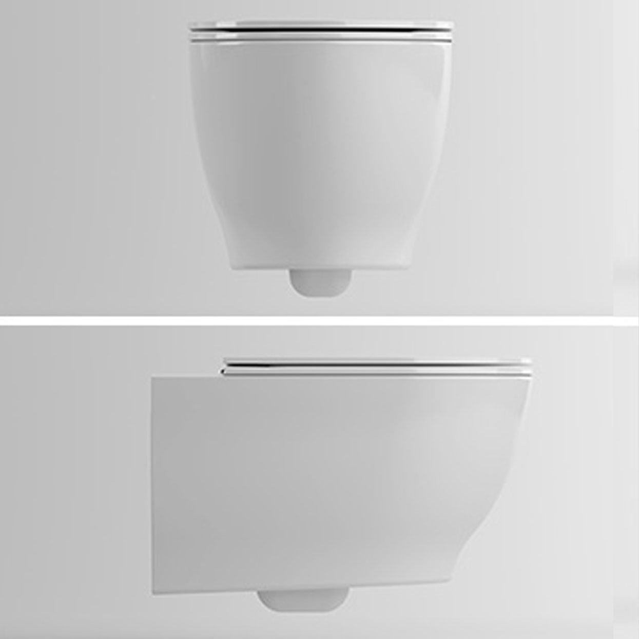 Glow Toilet with rimless Wall-hung White 56 x 36 x 30