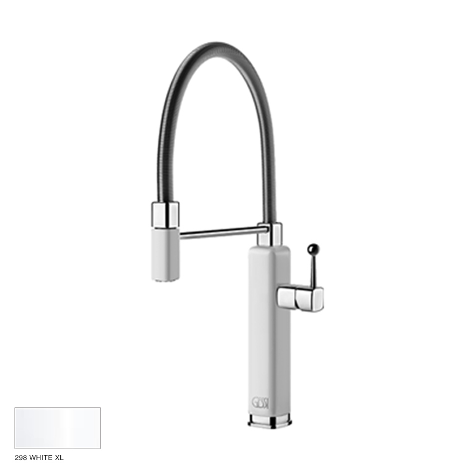 Happy rotating sink mixer with extractable jet handshower 298 White XL