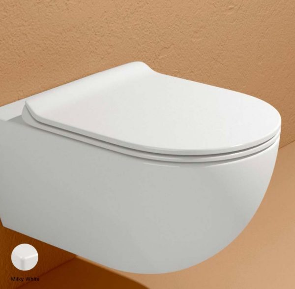 App Slim Soft-closing thermosetting seat&cover Milky White