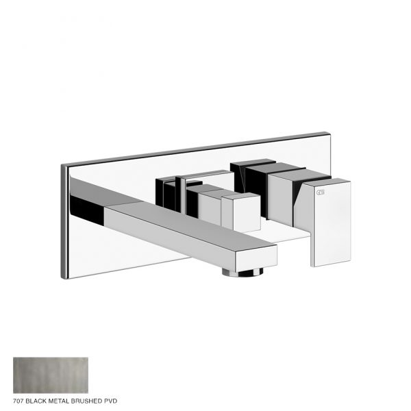 Rettangolo Shower mixer, with spout, diverter, two-way 707 Black Metal Brushed
