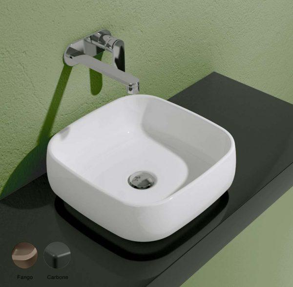 Flag Stripes Countertop basin without tap ledge 40cm Fango-Carbone Matte