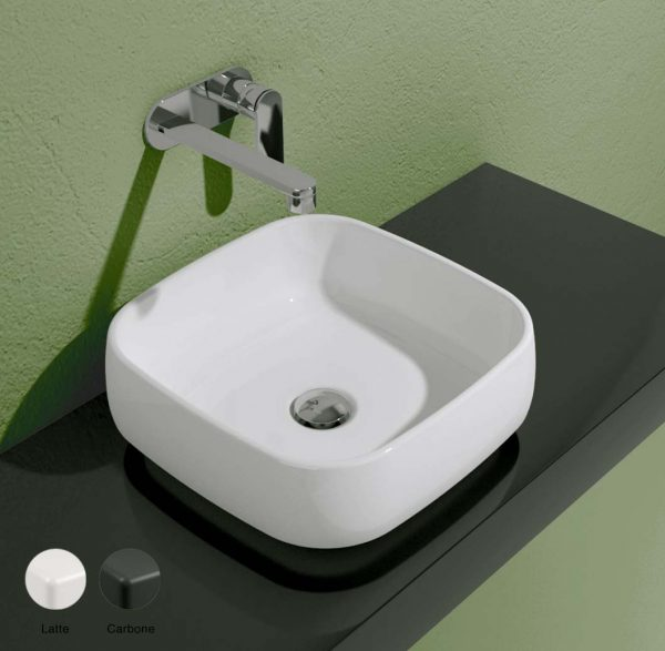 Flag Stripes Countertop basin without tap ledge 40cm Latte-Carbone Matte