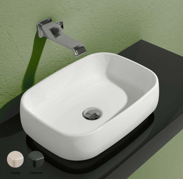 Flag Stripes Countertop basin without tap ledge 50cm Argilla-Carbone Matte