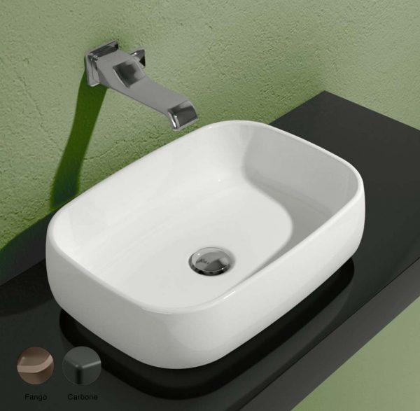 Flag Stripes Countertop basin without tap ledge 50cm Fango-Carbone Matte