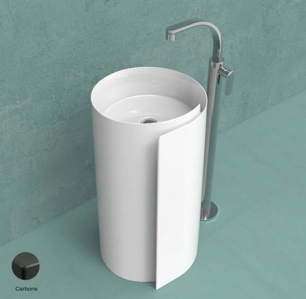 Monoroll Standing column-basin 44 cm without overflow and tap ledge Carbone