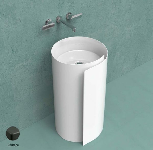 Monoroll Wall column-basin 44 cm without overflow, without tap ledge Carbone