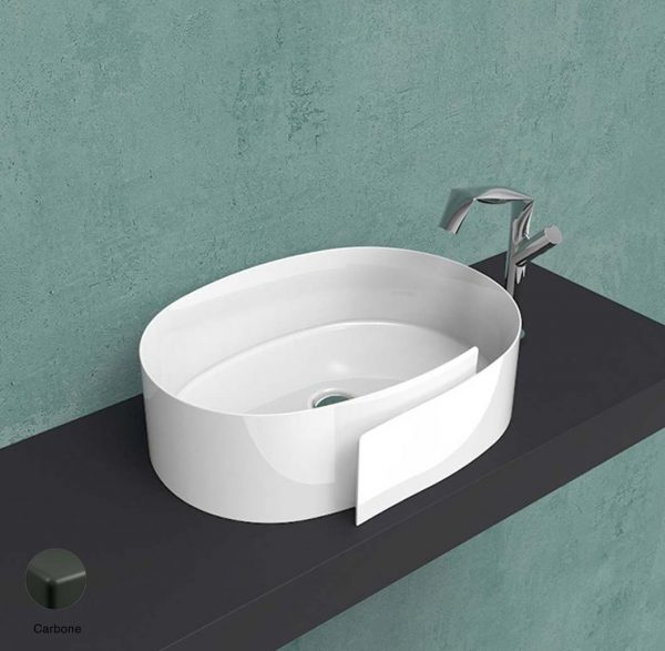 Roll Countertop basin 56 cm without overflow, without tap ledge Carbone