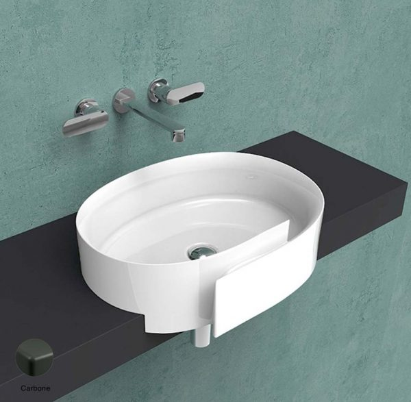 Roll Semi-inset basin 56 cm without overflow, without tap ledge Carbone