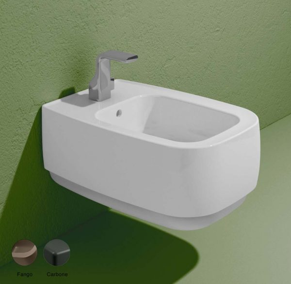 Flag Stripes Wall hung bidet with goclean system Fango-Carbone Matte
